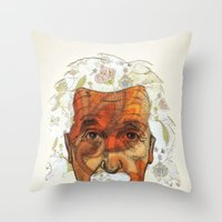 einstein Throw Pillows featuring Einstein by Jason Ratliff