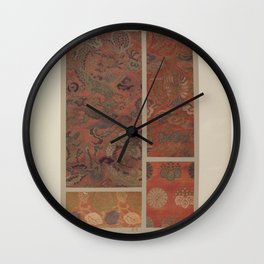 Verneuil - Japanese paper and fabric designs (1913) - 64: Dragon; birds; plants; rosettes; paulownia Wall Clock