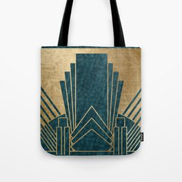 Art Deco glamour - teal and gold Tote Bag