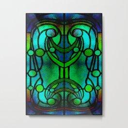 Green and Aqua Art Nouveau Stained Glass Art Metal Print