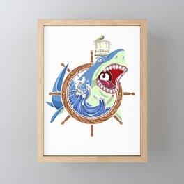 Shark Ship Wheel Framed Mini Art Print