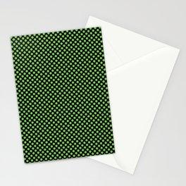 Black and Green Flash Polka Dots Stationery Cards