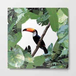 Toucan and leaves Metal Print