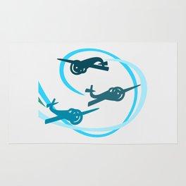 Blue Aerobatic Planes Rug