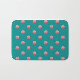 PREPPY teal green background with bubblegum pink polka dots Bath Mat