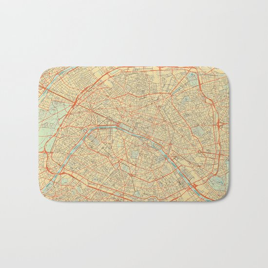 Paris Map Retro Bath Mat