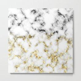 Black and white marble gold sparkle flakes Metal Print