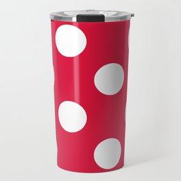 Large Polka Dots - White on Crimson Red Travel Mug