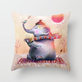 Content On A Fall Day Throw Pillow