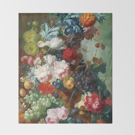 Fruit and Flowers in a Terracotta Vase by Jan van Os Throw Blanket