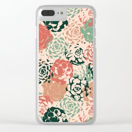 Stamped Succulents Clear iPhone Case