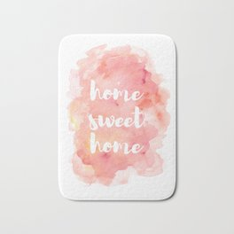 'Home Sweet Home' Typography Pinks Watercolour Bath Mat