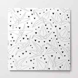 Japanese Origami white paper cranes sketch, symbol of happiness, luck and longevity Metal Print