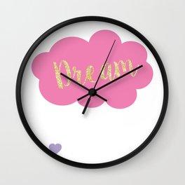 Girls Glitter Cloud Raining Pastel Hearts Wall Clock