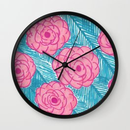 Tropical Palm Leaves and Roses Print Wall Clock