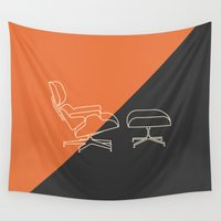eames Wall Tapestries featuring Eames Lounge by Nadia Castro