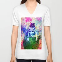 grimes V-neck T-shirts featuring Grimes Watercolor by Toki Hernandez