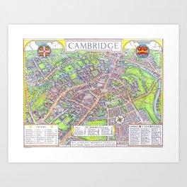 CAMBRIDGE University map ENGLAND Art Print