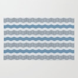 Wavy River in Blue and Gray 1 Rug
