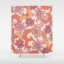 Girly Retro Pink Orange Groovy Flowers Shower Curtain