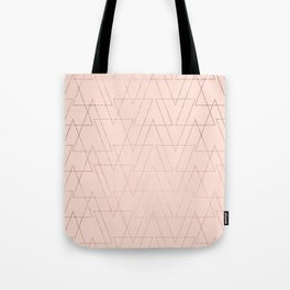 modern rose gold geometric thin triangles blush pink abstract pattern Tote Bag