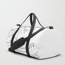Minimal Line Art Ocean Waves Duffle Bag