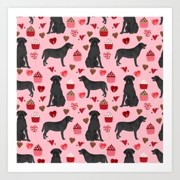 Black Lab valentines day pattern gifts dog pattern with hearts and cupcakes perfect for valentine Art Print
