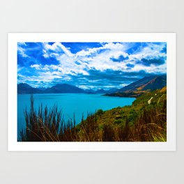 Turqoise Lake Wakatipu in summer - Queenstown, New Zealand Art Print