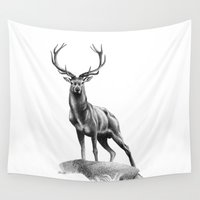 muscle Wall Tapestries featuring All Muscle - Red Deer Stag by Patricia Howitt