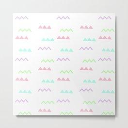 Abstract pink teal minimalist geometrical pattern Metal Print