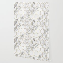 Gold marble hexagon pattern Wallpaper