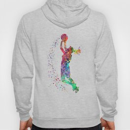 Basketball Girl Player Sports Art Print Hoody