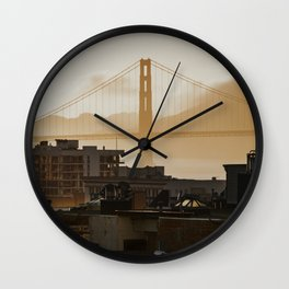 Golden Gate Bridge at Sunset Wall Clock