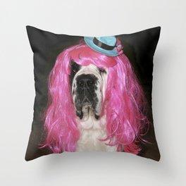 Funny St Bernard dog clowning around Throw Pillow