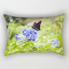 Butterfly on a Purple Flower Photography Print Rectangular Pillow