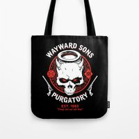 sons of anarchy Tote Bags featuring Wayward Sons by Manny Peters Art & Design