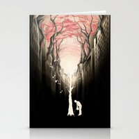 city Stationery Cards featuring Revenge of the nature II: growing red forest above the city. by Rafapasta