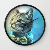 kitty Wall Clocks featuring Handsome Cat by Alice X. Zhang