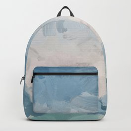 Mint Blue Aqua Sky Ocean Abstract Art Painting Clouds Water Waves Backpack