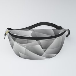 Exclusive gray monochrome pattern of chaotic black and white glass fragments on the edges of silver Fanny Pack