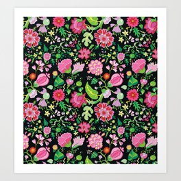 My Crazy Garden Flowers BedSpread Art Print