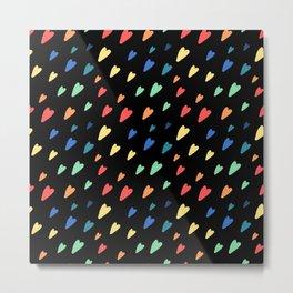 Small rainbow hearts on black background Metal Print