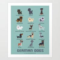 german Art Prints featuring GERMAN DOGS by DoggieDrawings
