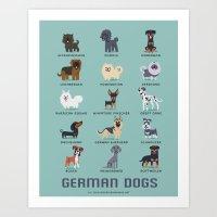 german Art Prints featuring GERMAN DOGS by Doggie Drawings