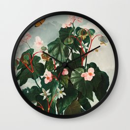 """The Oblique–Leaved Begonia from Robert John Thornton's """"The Temple of Flora""""  Wall Clock"""