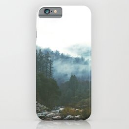 Into the foggy woods - Nature Landscape Photography iPhone Case