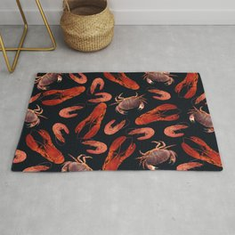 Lobster - Crab - Shrimps black background Rug