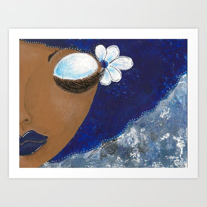 Sassy Girl Royal Blue and White Art Print