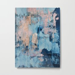 Sunbeam: a pretty abstract painting in pink, blue, and gold by Alyssa Hamilton Art Metal Print