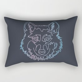 Vector wolf in one line Rectangular Pillow